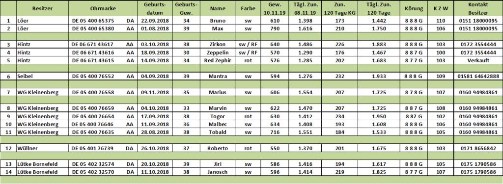 Ergebnisse der FHB ELP 2019